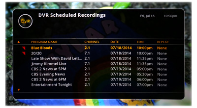 DVR+ Scheduled Recordings